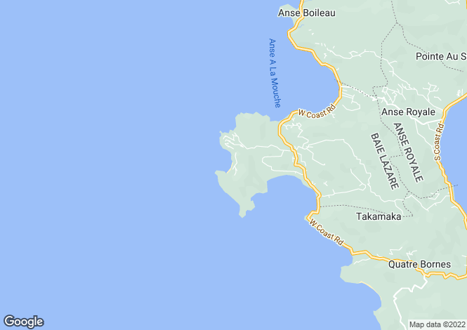 Map for Mah� Island, Petite Anse