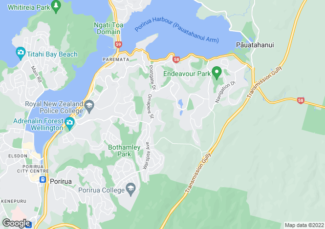 Map for Wellington, Pukerua Bay / Porirua, Whitby