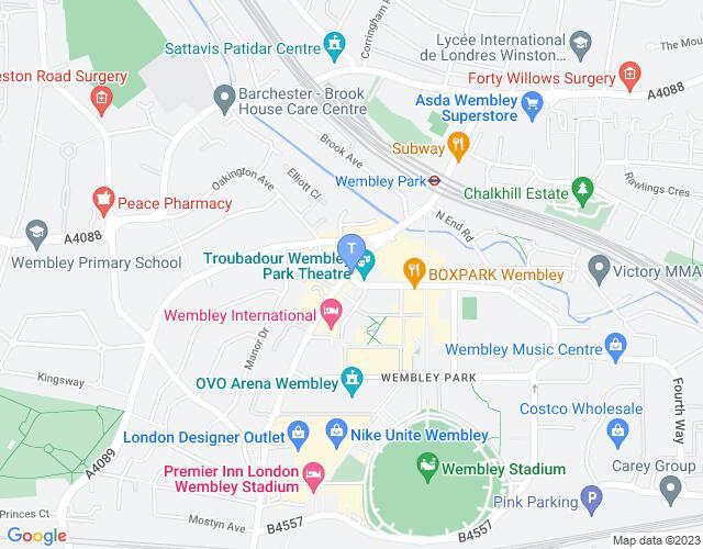 Location map for Troubadour Wembley Park Theatre