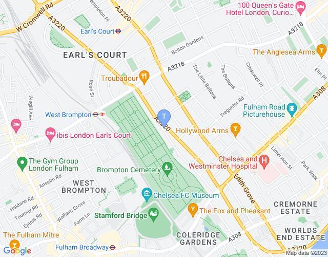 Location map for Finborough Theatre