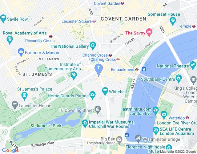 Location map for Trafalgar Studios