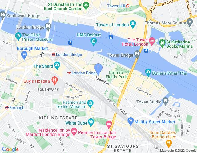 Location map for Unicorn Theatre