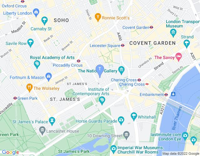 Location map for Theatre Royal Haymarket