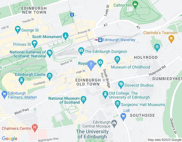 Location map for Edinburgh Fringe 2020