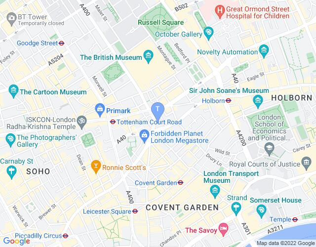 Location map for Shaftesbury Theatre
