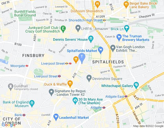 Location map for OVERTURES at Bishopsgate Institute