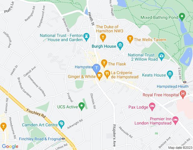 Location map for Pentameters Theatre
