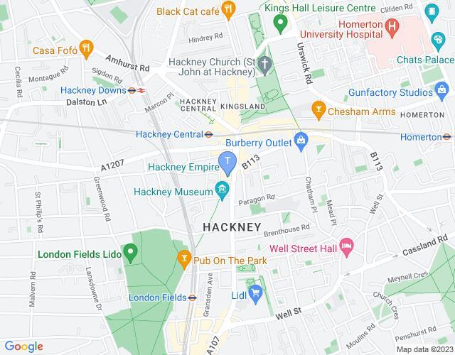 Location map for Hackney Empire
