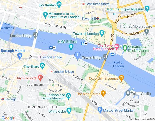 Location map for London Bridge City Summer Festival 2017