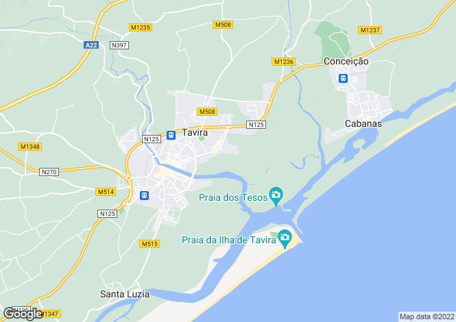 Map for Portugal, Eastern Algarve, Tavira Algarve