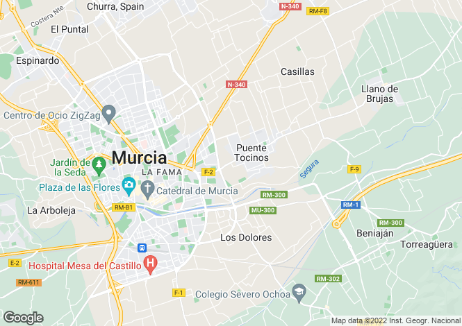 Map for Murcia, Costa Calida, Spain