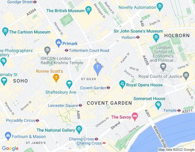 Location map for The Donmar Warehouse
