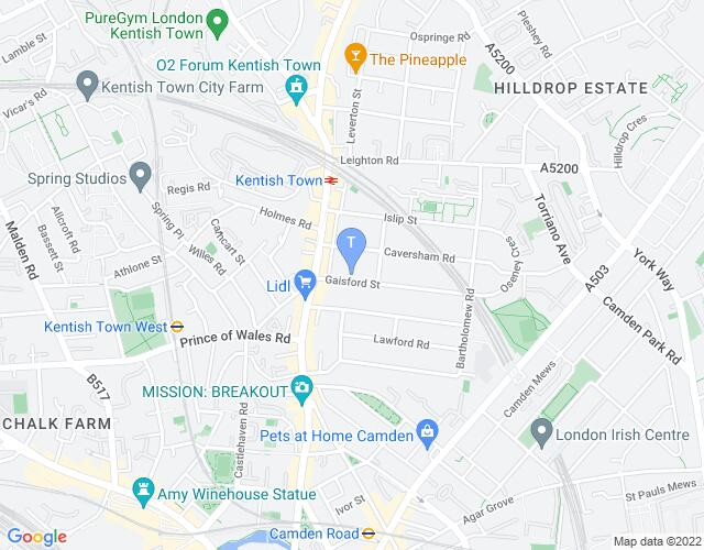 Location map for The Lion & Unicorn Theatre