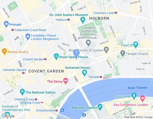 Location map for Aldwych Theatre