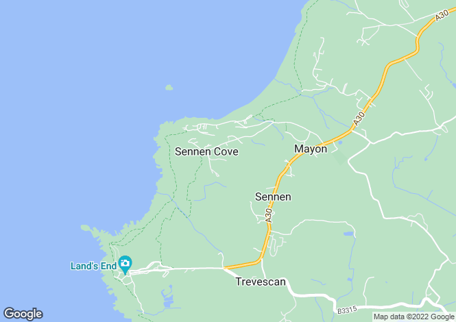 Map for Sennen, Cornwall