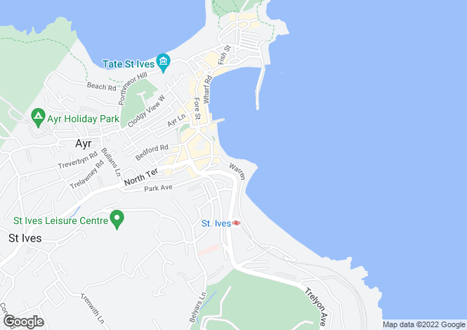 Map for The Warren, St. Ives, Cornwall