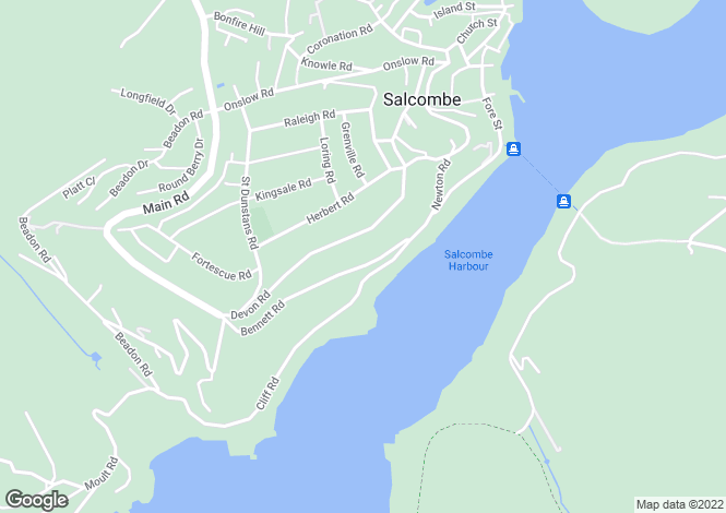 Map for Bennett Road, Salcombe, Devon