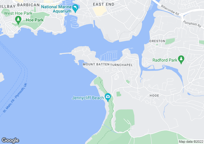 Map for Plymouth, Devon