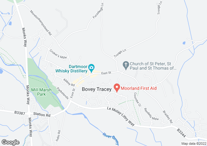 Map for East Street, Bovey Tracey.