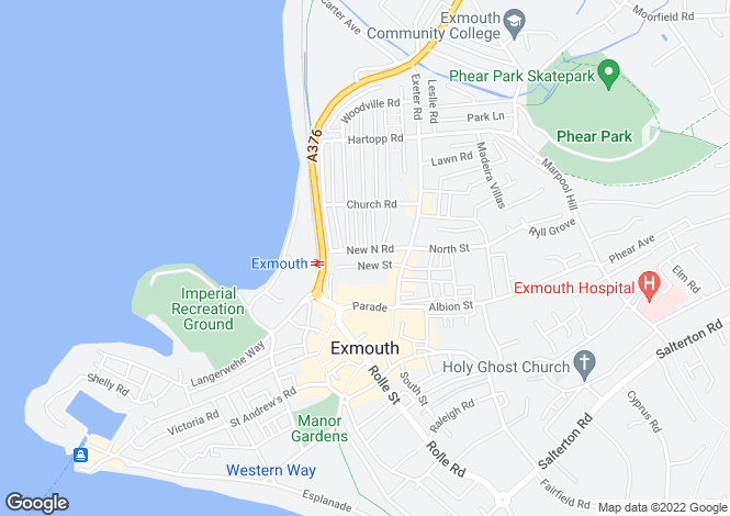 Map for New North Road, Exmouth EX8