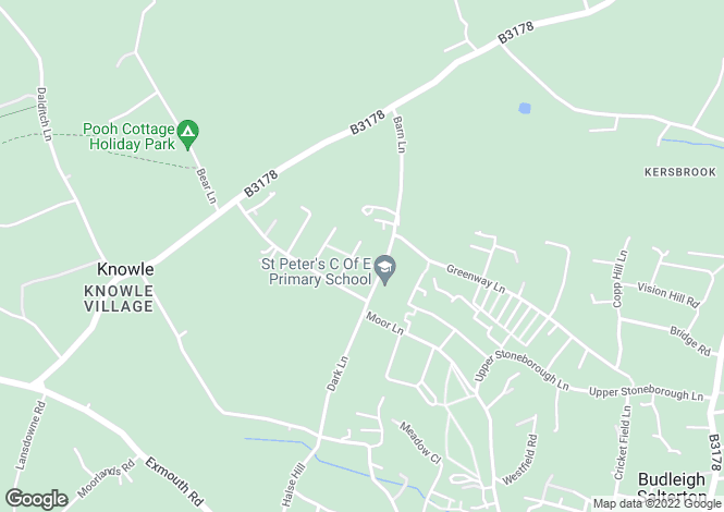 Map for Queens Road, Budleigh Salterton.