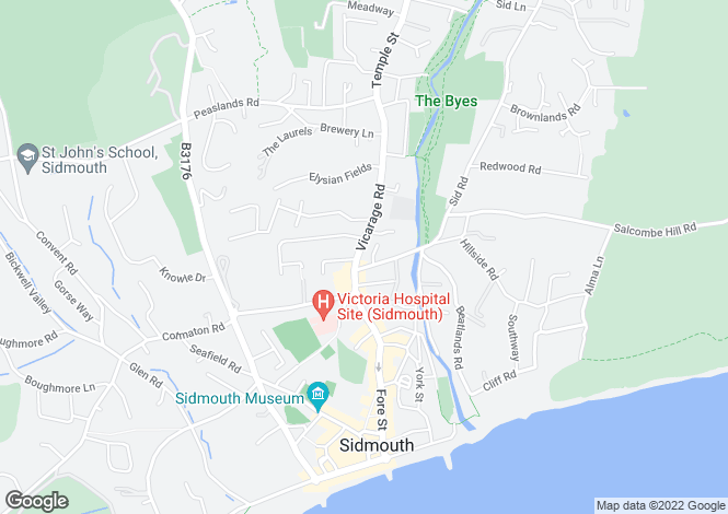 Map for Enfield Villas, Vicarage Road, Sidmouth, Devon