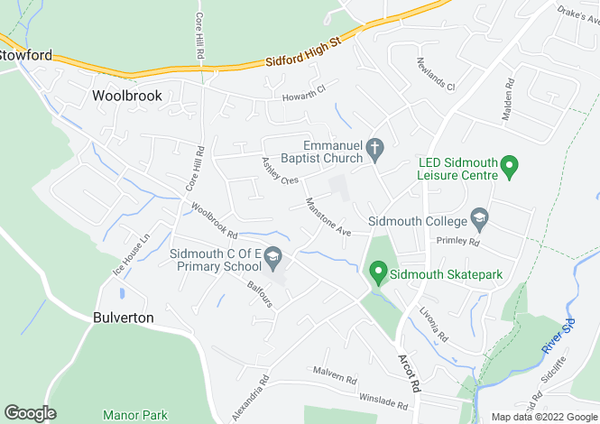 Map for Manstone Avenue, Sidmouth EX10