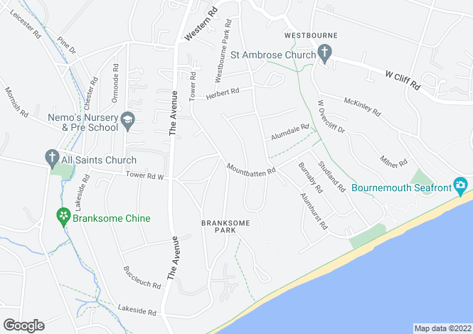 Map for Mountbatten Road, Branksome Park, Poole