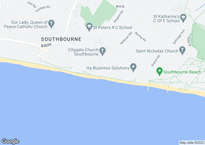 Map for Southbourne Coast Road, Southbourne, BH6