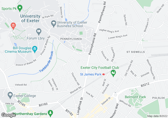 Map for Pennsylvania Crescent, Exeter