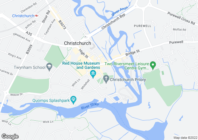 Map for Church Street, Christchurch, Dorset, BH23