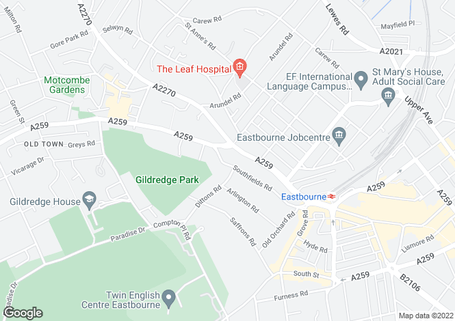 Map for Southfields Road, Eastbourne, East Sussex
