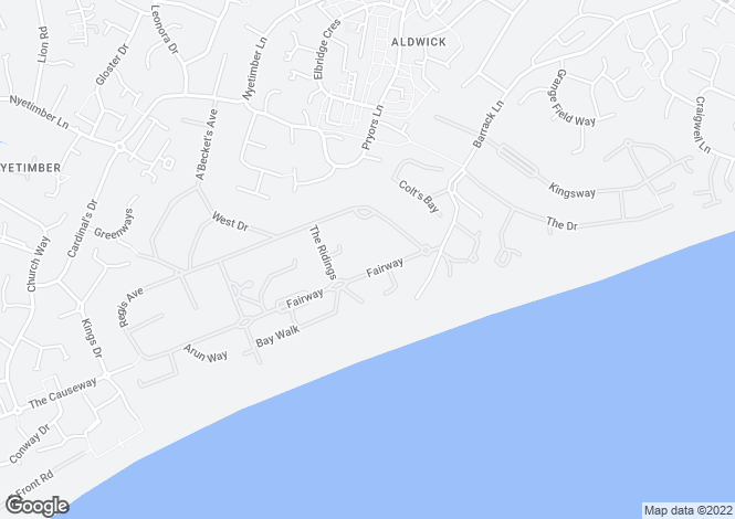 Map for Aldwick, Bognor Regis, PO21