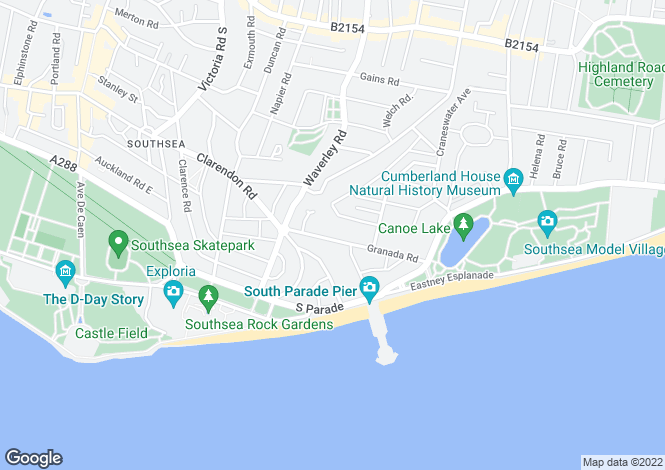 Map for Southsea, Hampshire