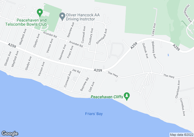 Map for Southcoast Road, Peacehaven