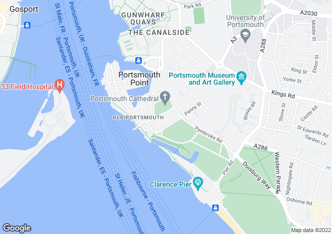 Map for High Street, Portsmouth, Hampshire