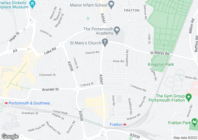 Map for FRATTON ROAD, PORTSMOUTH