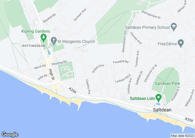 Map for Grand Crescent, Rottingdean, Brighton, East Sussex