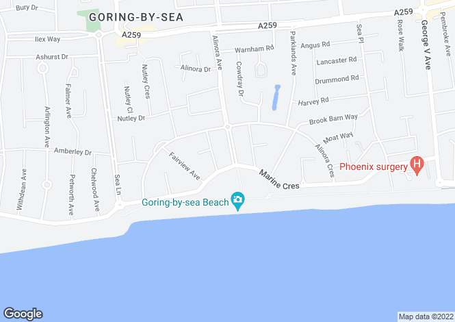 Map for Marine Crescent, Goring-by-Sea, Worthing, BN12