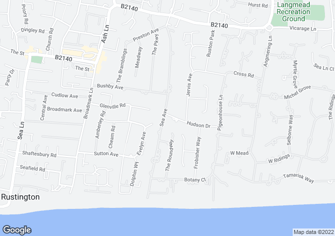 Map for Sea Avenue, Rustington