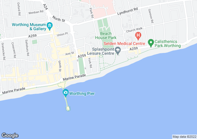 Map for Marine Parade, Worthing, West Sussex, BN11 3PN