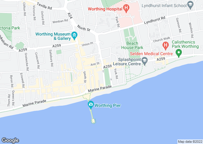 Map for The Steyne, Worthing, West Sussex, BN11