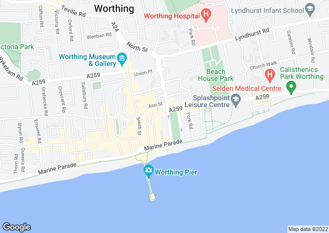 Map for The Steyne, Worthing, West Sussex