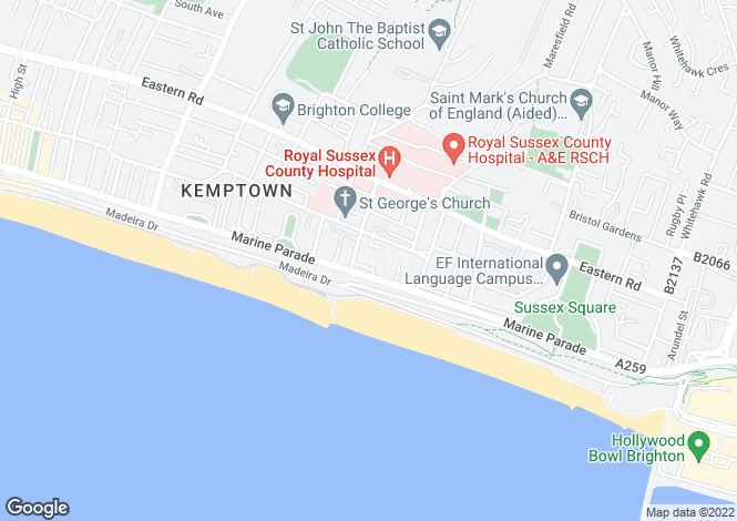 Map for Eastern Terrace, Brighton, East Sussex, BN2