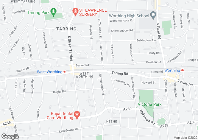 Map for Tarring Road, WORTHING