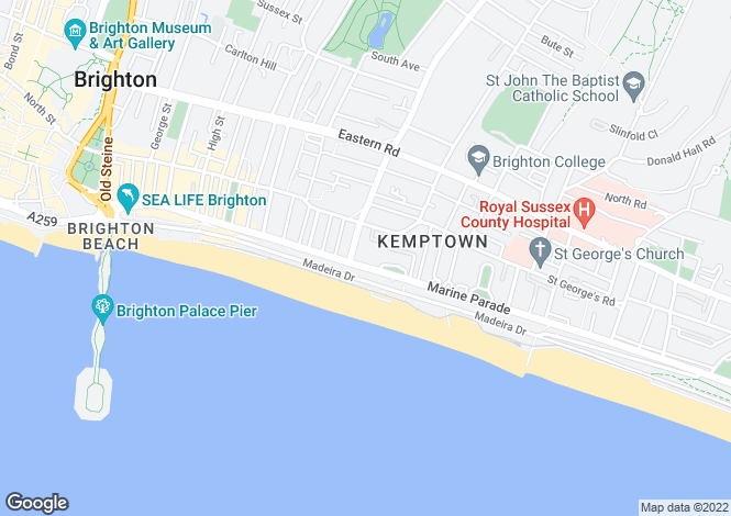 Map for Marine Parade, Brighton, East Sussex, BN2