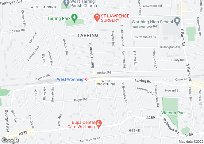 Map for West Worthing