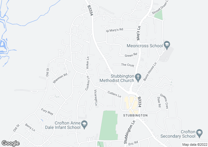 Map for Canterbury Road, Stubbington