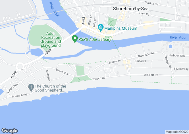 Map for Shoreham Beach