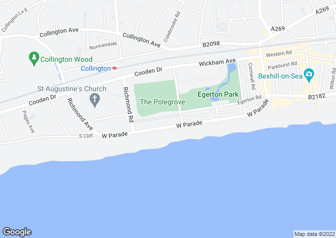 Map for St Thomas, West Parade, BEXHILL-ON-SEA, TN39
